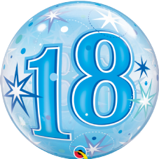 18th Blue Stars Bubble Balloon